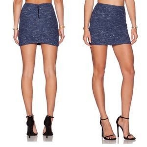 Alice+Olivia Elana Tweed Woven Mini Skirt Revolve